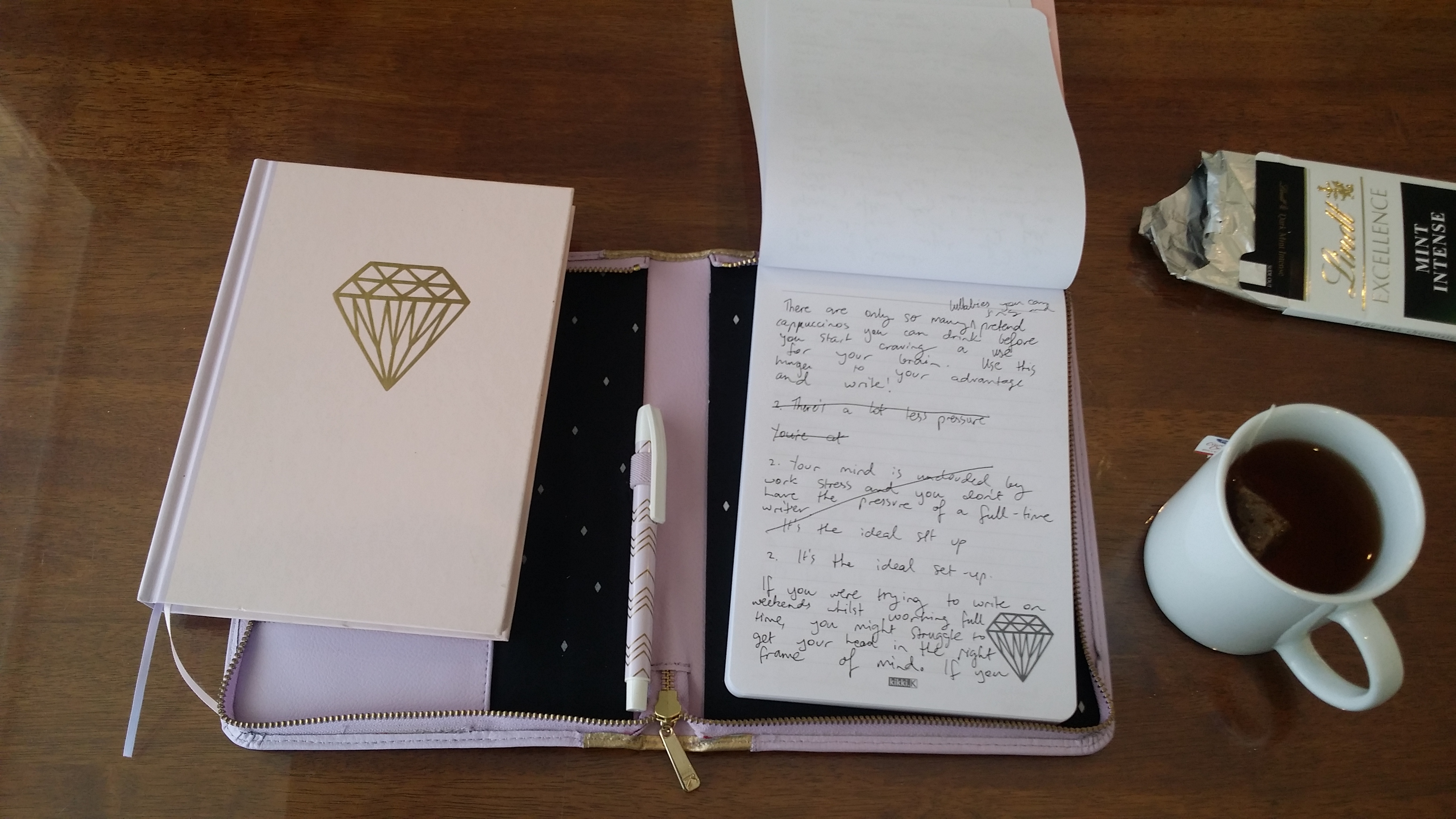 Pretty notepad with pen, tea and chocolate