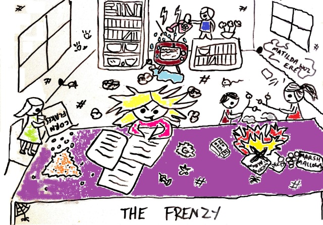 """The Frenzy"": a cartoon depicting chaos surrounding an oblivious Kate who is writing furiously. Annie empties cornflakes onto the table, Harry is watering the television and the other two have kindled a small fire on the table and are roasting marshmallows"